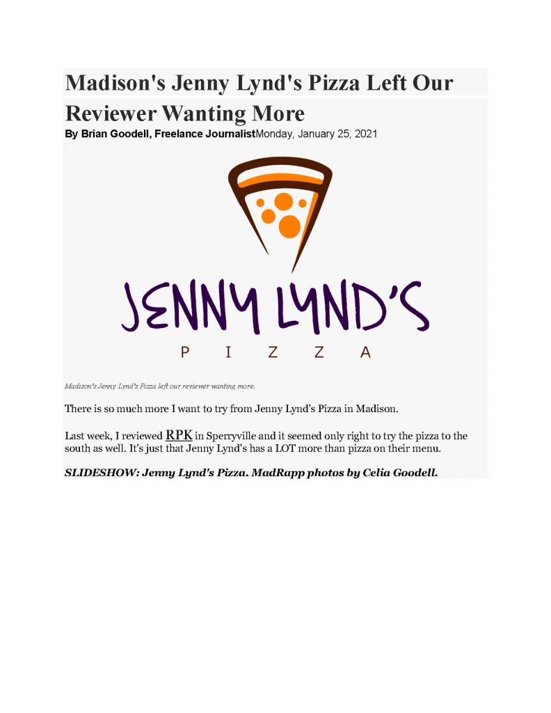 Madison's Jenny Lynd's Pizza in the Freelance Journalist